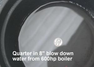 Quarter in 8in Bottom Blowdown Water