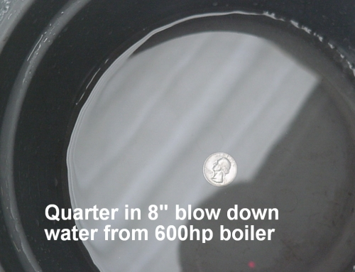 Quarter in 8in Bottom Blowdown Water